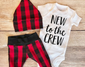 New to the crew Buffalo Plaid Baby Boy Newborn Outfit, READY TO SHIP, Coming home outfit, Plaid, Lumberjack, lumberjack baby