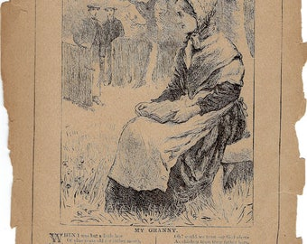 My Granny a Rare Antique Book Page Etching from 1889 Young America Children's Book to Frame or to use in Paper Arts PSS 3154