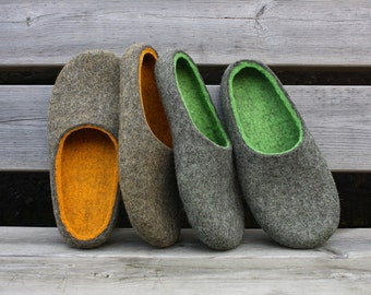 Felted wool slippers handmade to order In to the woods
