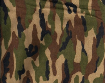 "New Green Camo 100% Cotton Flannel fabric 17"" x 44"" - Last Piece (Camouflage)"