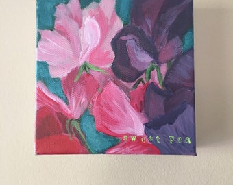 "Small Handmade Acrylic Flower Painting - ""Sweet Pea"" - 6"" x 6"""