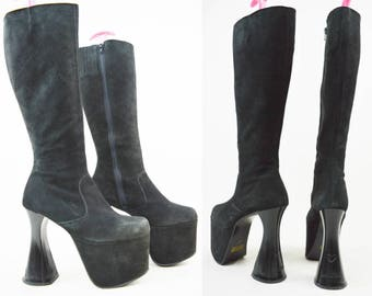 90s Gothic Black Suede Luichiny Curved Heel Knee High Platform Boots UK 4 / US 6.5 / EU 37