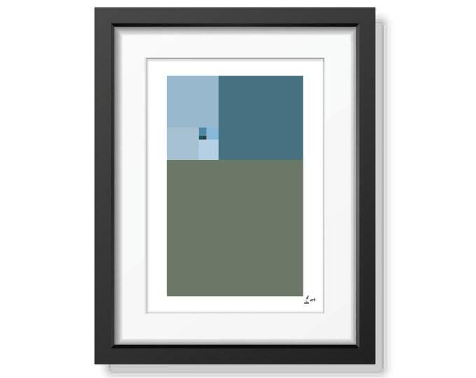 Fibonacci Winter [mathematical abstract art print, unframed]