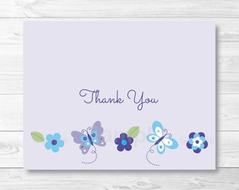 Purple Butterfly Baby Shower Thank You Card / Butterfly Baby Shower / PRINTABLE Instant Download A373