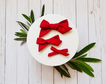 Red Hand-tied Simple Fabric Linen Bow Nylon or Clip