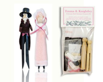 Jane Austen Clothespin Doll Ornament Kit: Emma Woodhouse and Mr. Knightley