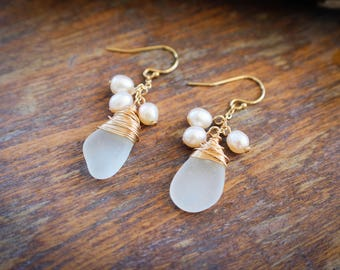 White Sea Glass Gold Wire Wrapped Pearl Earrings