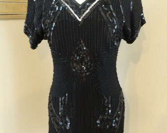 VTG Black and Silver Beaded Sequin Dress / Key Hole Back Dress