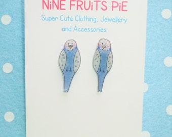 Tweet tweet, how sweet? Mini blue budgie stud earrings