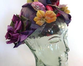 Christian Dior purple flower chapeaux hat