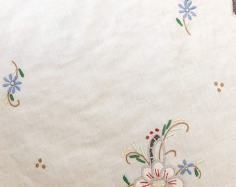 Vintage Embroidered Table Linen, hand stitched embroidery of flowers with applique and cut-work, vintage tray cloth