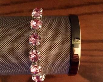 Light Rose + Silver, Handmade Swarovski Crystal Bracelet,  Light Pink Bracelet, Silver Bracelet, Bridesmaid Jewelry, Gift for her