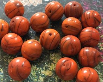 10 Rusty Orange & Black Striated Vintage Czech Glass Beads