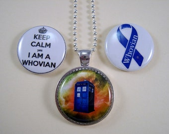 Magnetic Jewelry, Dr Who Magnetic Jewelry, Whovian Necklace, Interchangable Jewelry,  3 in 1 Necklace, Handmade