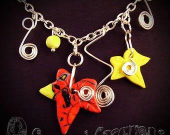 Autumn Ivy Necklace, Ivy Leaf Necklace, Evening Necklace, Autumn Necklace, Red Necklace, Yellow Necklace, Wiccan Necklace, Pagan Necklace.