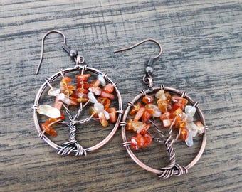 Tree of Life Earrings Fall Wire Tree Earrings Red Agate Gemstone Beaded Tree of Life Dangle Earrings Mothers Day Gift Copper Autumn Earrings