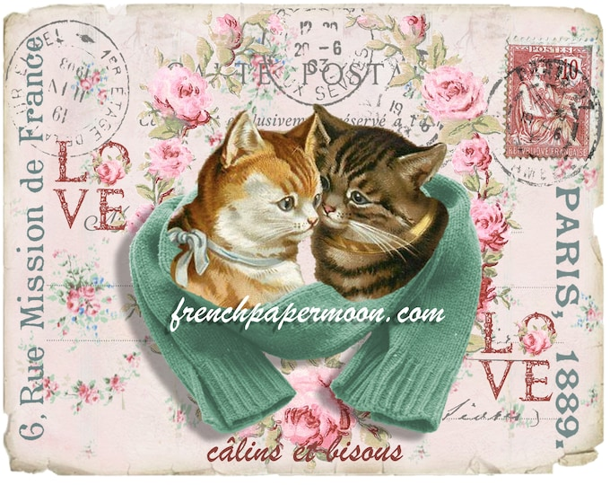 Shabby Chic Vintage Cats, French Postcard Cats, Kissing cats, Instant Download, Large and Small, Transfer Graphic
