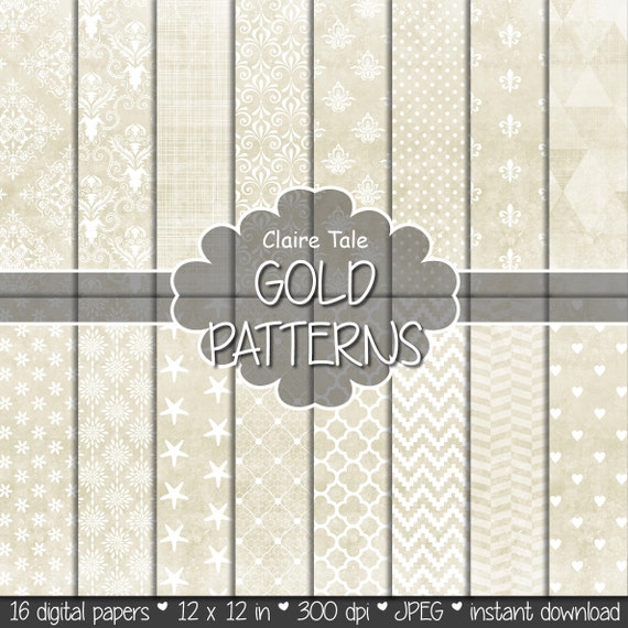 """Gold digital paper: """"GOLD TEXTURES"""" with gold damask, crosshatch, quatrefoil, flowers, lace, polka dots, hearts, triangles, stripes patterns"""