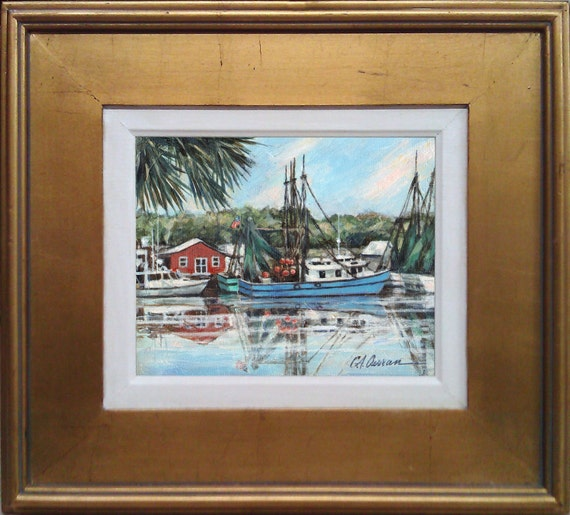 Shem Creek Reflection by Carol Ann Curran, Shimp Boats Original Oil