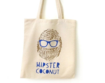 Fun Tote Bag for hipsters, Reusable Shopping bag, Hipster tote bag, Reusable bag, Handprinted, Eco-friendly, Canvas tote bag, Tote bags