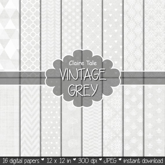 Grey printable paper, Grey digital paper, Grey scrapbooking paper, Grey printable invitation paper, Grey wedding paper, Light grey patterns