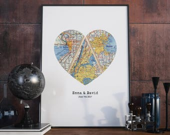 Triple Map Heart Art, Unique Wedding Gift for Couple, Heart Map Print, Engagement, Newlywed Gift, Personalized Map Art
