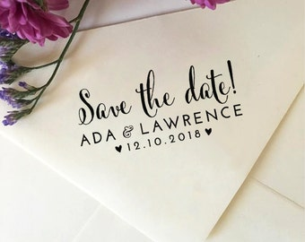 Save The Date Stamp with Names and Date, Custom Wedding Stamp, Self Inking Stamp, Wood Stamp, Personalized Stamp, Stamp with Handle