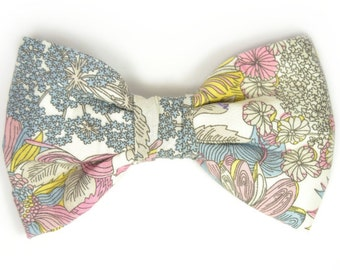 Mens Clip-On Bow Tie Wedding  Pink, yellow and grey flowers bowtie