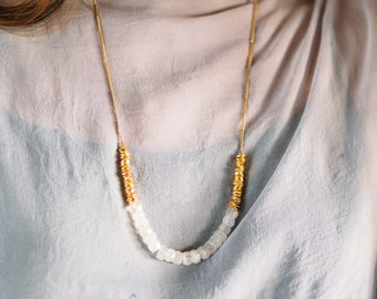 Tide -- white moonstone gold beaded necklace, colorblock, mid-length, short, layering, statement, lightweight, boho, minimalist, classic