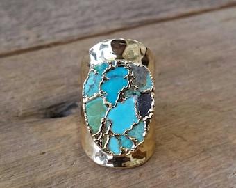 Gold Webbed Turquoise Ring