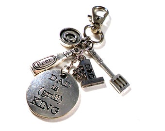 Customized Personalized Key chain for Dad ~ Dad Is Grill King ~ Fathers Day Gifts ~ Gifts for Dad ~ #1 Dad