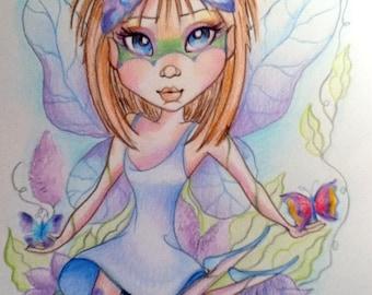 Butterfly Fairy Big Eye Fantasy Art Print 8.5 x 11