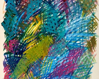 "Acrylics - on paper - CeruleanBlueYellow - Acrylics 11""x12"" 2001"