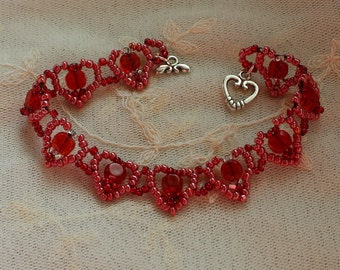 Valentine hearts red and pink glass beadwoven bracelet, handmade, unique, gift