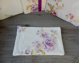 Clutch soft ivory and purple flowers