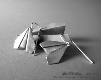 Origami Airplane Earrings Silver Airplane Earrings Origami Plane Jewelry