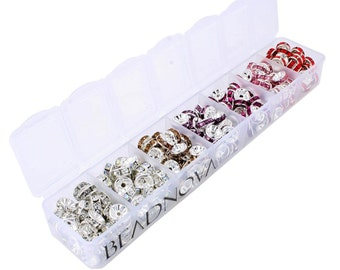 280 Pcs Silver Plated Crystal Rondelle Spacer Beads 8mm. Mixed Cool Colors.