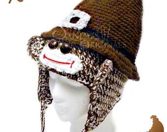 Pilgrim Sock Monkey Hat Infants to Adults Crochet Pattern PDF 645