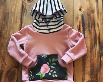 Stripes and florals hoodie
