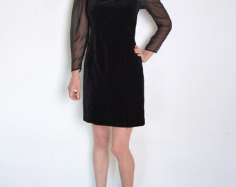 90's velvet and chiffon dress, sheer sleeves black dress, little black dress, grunge retro prom dress, long sleeve mini dress