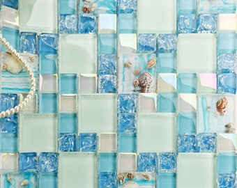 Teal Beach Glass Tile Bathroom Conch and Shell within Resin Crackle Crystal Backsplash White Iridescent Mosaic Tiles