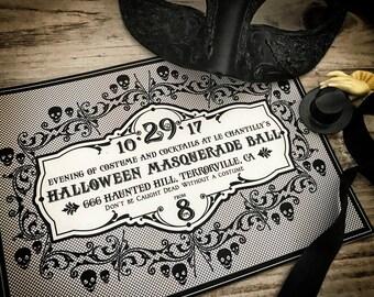 Halloween Invitation, Halloween Invite, Skull, Black Lace, Printable Invites 5x7 inches