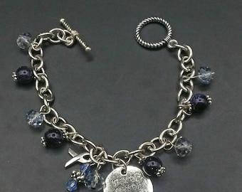 Cancer Awareness Charm Bracelet Blue Beaded Fashion Jewelry