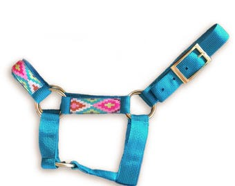 Miniature horse or donkey halter w/ overlay -Choose color