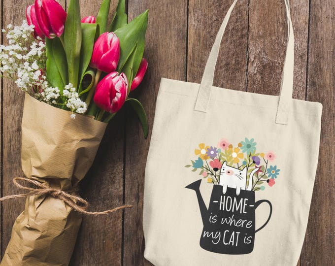 Home is Where My Cat Is Cotton Tote Bag   Natural Cotton Canvas Tote Bag   Cute Kitty Cat Tote Bag   Cute Floral Canvas Tote Bag   Cat Lover