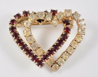 Entwined hearts pin, rhinestone hearts pin