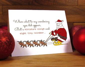 Funny Christmas Card - Christmas Card - Funny Holiday Card - Santa Card - Miniature Sleigh and Eight Tiny Reindeer
