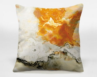 Abstract art pillow cover, 16x16 and 18x18, cream and orange decorative pillow, throw pillow, accent pillow, Rhymes with Orange