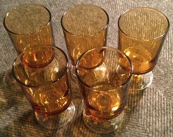 Five  Vintage Luminarc Amber glasses