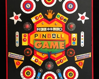 Recycled Mixed Media Art Assemblage on Wood - PINBALL GAME